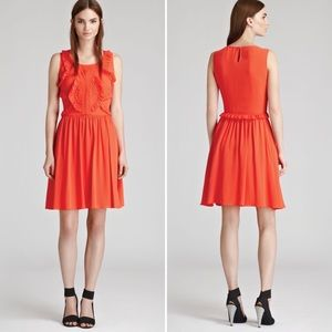Reiss Loulou Silk Ruffle Dress Orange 6 Cocktail